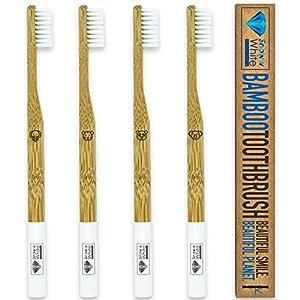 Bambus Zahnbürsten 4 er Set – Extra Weiche Borsten – Tiersymbole – Für Die Ganze Familie – Aus Premium Bambus Holz – VEGAN – Sehr Weich & Nachhaltig