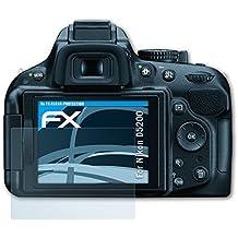 3 x atFoliX Lámina Protectora de Pantalla Nikon D5200 Película Protectora - FX-Clear ultra transparente