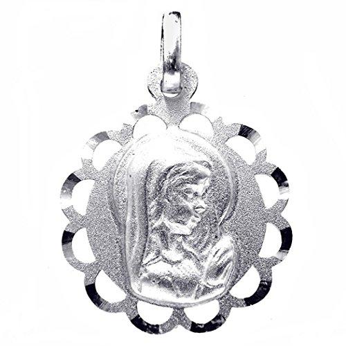 Medalla plata Ley 925m Virgen Nina 18mm. calada redonda [8248]
