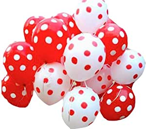 12 Pack: VB Polka Latex Balloons - Red & White + FREE VB Balloon Clips