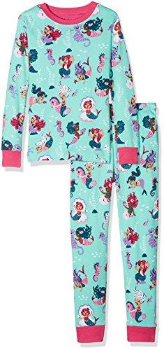 Hatley Mädchen Zweiteiliger Schlafanzug Organic Cotton Long Sleeve Printed Pyjama Sets, Blue (Underwater Blue Kingdom), 6 Jahre (Bau-mädchen)