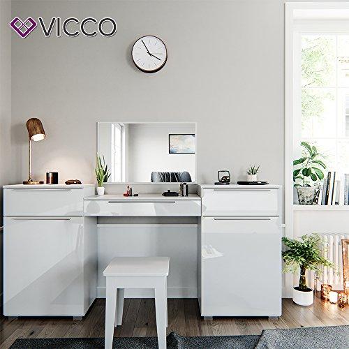 Design Frisiertisch Schminktisch Kosmetik Set Kommode mit Spiegel Hochglanz weiß - 3