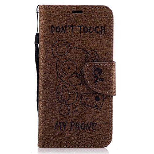 YHUISEN Huawei P10 Lite Case, [Niedliche Cartoon Bär Präge Serie] PU Leder Flip Wallet Schutzhülle mit Lanyard / Card Slot / Stand für Huawei P10 Lite ( Color : Pink ) Brown