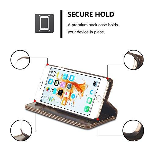 Roreikes iPhone 6 / 6S Hülle (4,7 Zoll), Neue Art und Weise Crazy Horse Luxus echtes Leder-Mappen-Karten-Slot-Abdeckung Schlag-Fall mit Standplatz für Apple iPhone 6 / 6S Hülle (4,7 Zoll) - Weiß Braun