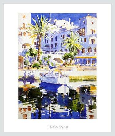 Soan Hazel Poster Kunstdruck Bild Sunlit Quay 61x51cm im Alu Rahmen in Silber Natur