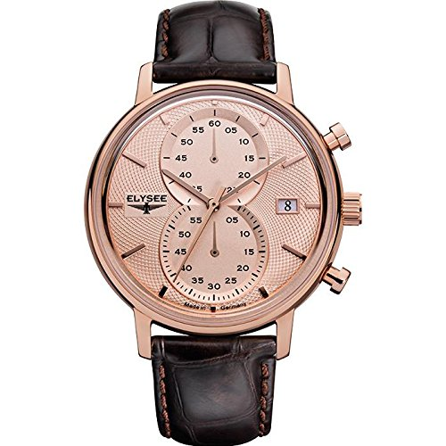 ELYSEE Men's Minos 42mm Brown Leather Band Rose Gold Plated Case Quartz Rose Gold-Tone Dial Watch 83821