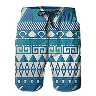 Kurze Hosen Men's Trunks Aztec Leisure Art Swim Beach Mode Marken Board Shorts for Outside Atmungsaktiv Gemütlich Strandhose (Color : Weiß, Size : L)