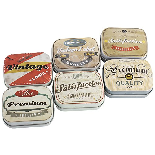COM-FOUR® 6-teiliges Retrodosen Set in verschiedenen Designs, 6x5 cm