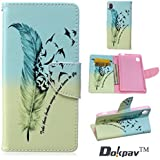 Sony Xperia M4 Aqua Funda, Dokpav® Ultra Slim Delgado Flip PU Cuero Cover Case para Sony Xperia M4 Aqua con Interiores Slip compartimentos para tarjetas - Plumas de Aves