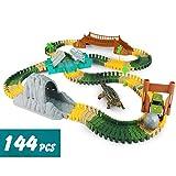 Circuito Coches Niños Pista Coches Flexible con Dinosaurios Juguetes Car Race Tracks Jurassic Dino World Pista Juguete Circuito para Infantiles Niñas 3 4 5 Años