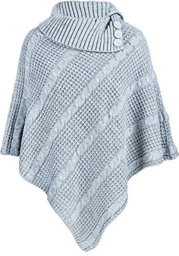 NEW Femme Big Plus Taille Câble en tricot 3Bouton Cap poncho Pull Mesdames Gris - Gris