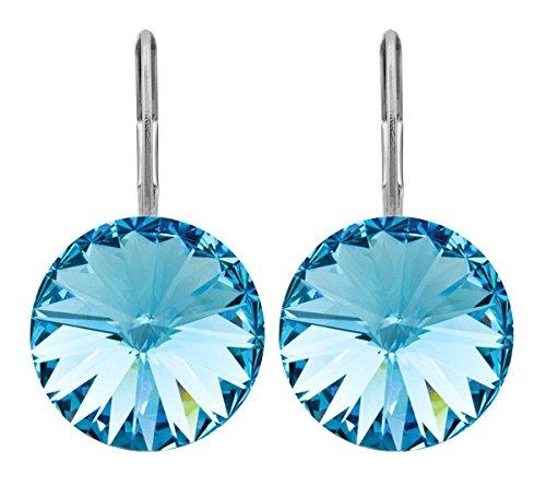 petra kupfer Damen Ohrringe Ohrhänger Rivoli 1 Swarovski®-Kristall 12 mm Blau Aquamarine Versilbert hk12tb-aquamarine -