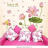 KUANGJING Abnehmbare WandaufkleberModern Rosa Lotus Flower Wandaufkleber Grüne Blätter für Wohnzimmer Wasserdichte TV Hintergrund Kunst Decals Schlafzimmer Große Größe PVC