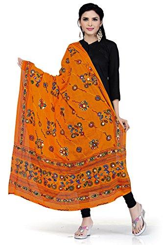 Rani Saahiba Women's Block Printed Aari Mirror Work Cotton Dupatta(Skrdd1030_Gold)