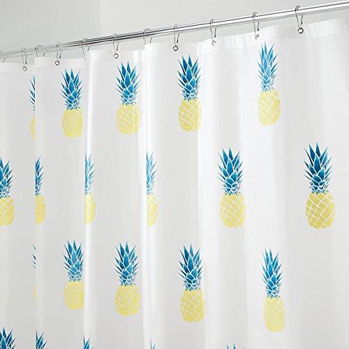 mDesign Duschvorhang mit Ananas - ideales Badzubehör - langlebige Duschgardine - mit 12 verstärkten Ösen - gelb/petrolblau