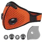 Masque Anti Pollution,Anti Poussiere Sport Masque avec Filtre à Charbon Actif pour PM2,5,Motos,Sport,Running,Escalade. (Orange)