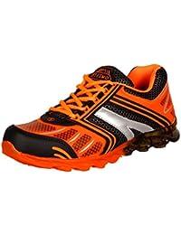 Steemo Men's Black Orange Synthetic Running Shoes (STM-1037) - 9 UK