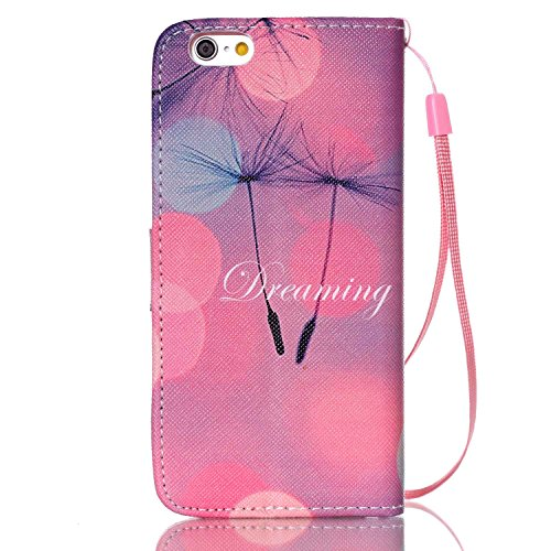 iPhone 6S Hülle, iPhone 6 Hülle, ISAKEN iPhone 6S 6 Hülle Muster, Handy Case Cover Tasche for iPhone 6S / 6, Bunte Retro Muster Druck Flip Cover PU Leder Tasche Case Schutzhülle Hülle Handy Tasche Etu Rosa Lila Himmel Löwenzahn Dreaming