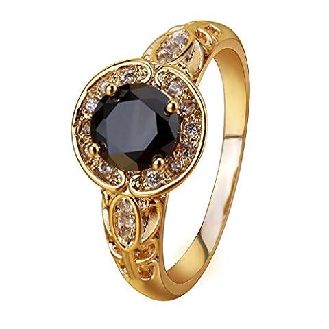 YAZILIND Temperament Gold überzogene Blätter Swirl Vine Kranz Schwarzer Zirkonia Ring für Frauen