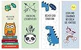 4er Set Tiere-Lesezeichen für Kinder (Einhorn, Eulen, Dinosaurier, Panda/ Mitgebsel)