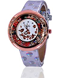 Fusine™ Amni Fashion Double Stone Studded 3D Leather Watch For Women (Round) Party Wear (Silver)