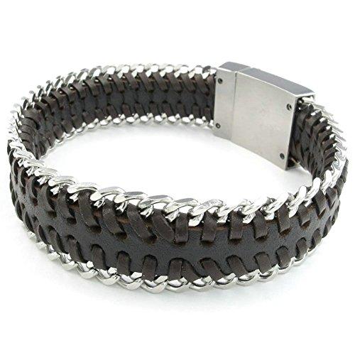 Adisaer Herren Armband Edelstahl Webart Kette mit Ring Armreifen Braun Silber Für Männer Lange 22.5CM Punk Armbänder