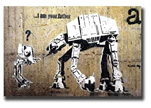 banksy star wars at leinwand bild 50 8 x 76 2 cm gerahmt fertig zum aufh ngen. Black Bedroom Furniture Sets. Home Design Ideas