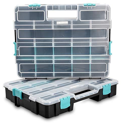 rganizer Sortierkasten zweistöckig - 37,5x29x13,4cm - Verstellbare Fächer - Schrauben Sortimentskasten Box leer ohne Zubehör ()