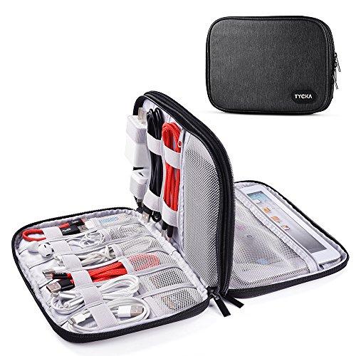 TYCKA Bolsa de Cable portátil de Viajes Organizador Accesorios para Tableta, Organizar los Accesorios electrónios Cables, iPad Mini, Kindle, USB, Tarjetas SD, Cargadores, Gris Oscuro