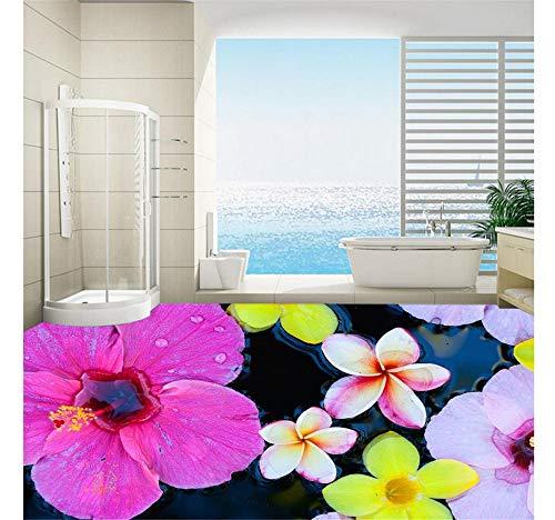 Zybnb Badezimmer 3D Floor Wandmalereien Blume Wasserdichte Bodenwandmalerei Benutzerdefinierte Foto Selbstklebende 3D Boden-350X250Cm