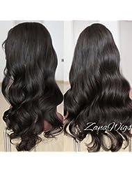 Zanawigs Perruque brésilienne sans colle Cheveux humains naturels ondulés Noir