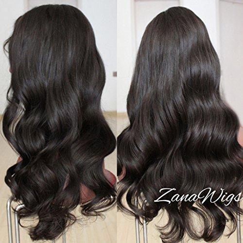 Perruque en cheveux humains brésiliens Zanawigs - Sans colle - Avec filet complet et cheveux de bébé - Pour femme
