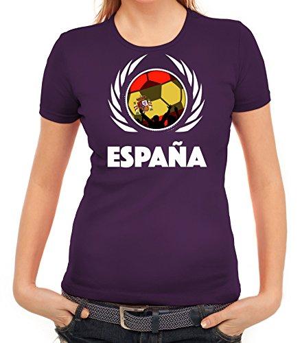 ShirtStreet Espana Spain Soccer Fussball WM Fanfest Gruppen Fan Wappen Damen T-Shirt Fußball Spanien Lila