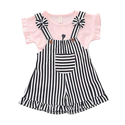 Rowentauk Baby Girls 2 Piece Outfits Summer Stripe Shortall Set with T-Shirt -
