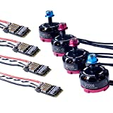 SunFounder Quadcopter Kit Motor ESC Combo, 2 Pairs CW CCW 2205 2300KV + 4 PCS Upgrade BLHeli 20A ESC for 180 210 250 RC Quadcopter Drone Multirotor