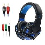 Gaming Kopfhörer, MMHDZ Professionelle 3,5mm Bass Kopfhörer Stereo Isolation Headsets LED Beleuchtung Noise Cancelling Mikrofone für Xbox / PC / Mac / Smartphone / Tablets / Windows (Schwarz Blau)