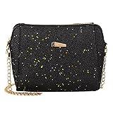 LQQSTORE Borsa a spalla femminile,Borsa a tracolla per borse a tracolla di colore puro con paillettes moda donna (nero)