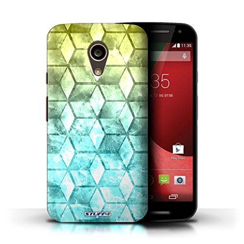Kobalt® Imprimé Etui / Coque pour Motorola Moto G (2014) / Bleu/rose conception / Série Cubes colorés Jaun/Bleu
