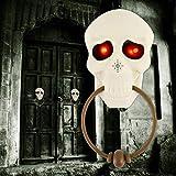 DANSPEED Halloween Schreckliche Türklingel Dekorationen Weißes Schädel-menschliches Skelett für Spuk Haus-beängstigende Türklingel Leuchtende Augen-Gruselige Tür