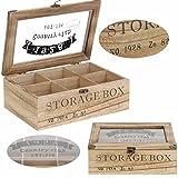 LS Design Holz Aufbewahrungsbox Schmuckkiste Teebox 6 Fächer Shabby Country