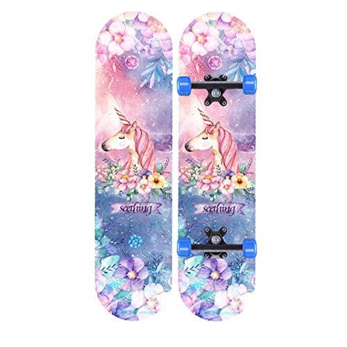 rd Komplett Longboard Double Kick Skateboard Cruiser 8 Lagen Ahorn Deck für Extremsport und Outdoor, 10,60cm ()
