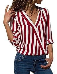 87ab2a77b1af0c Riou Damenbekleidung Damen Tops Cuffed Langearmshirt Gestreiftes  Unregelmäßige Arbeit Büro Hemd Frauen Tops Elegant Bequem Lösen…