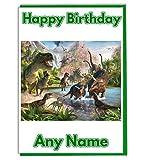 Carte d'anniversaire personnalisable sur le thème des dinosaures - Ajout d'un nom et d'un âge