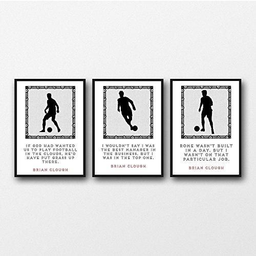 Set di 3 Brian Clough Quota stampe 11 x 14/8 x 10/5 x 7 A3 / A4 / A5 Stampa, regalo per i tifosi