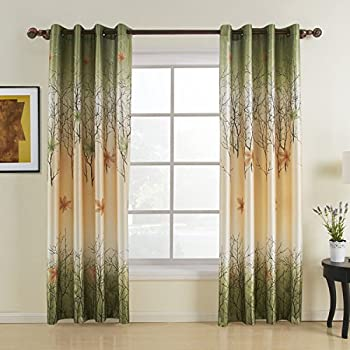 Green Maple Leaf Curtains   KoTing Gorgeous Tree Lined Window Curtains  Grommet Top 2 Panel Custom