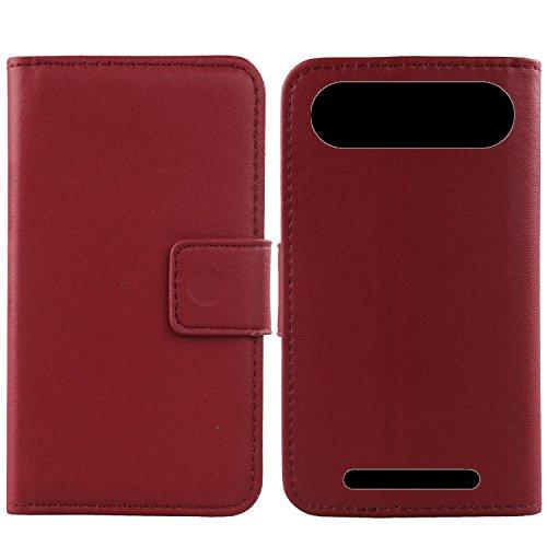Gukas Design Echt Leder Tasche Für Doro 8035 Hülle Lederhülle Handyhülle Handy Flip Brieftasche mit Kartenfächer Schutz Protektiv Genuine Premium Case Cover Etui Skin (Dark Rot)