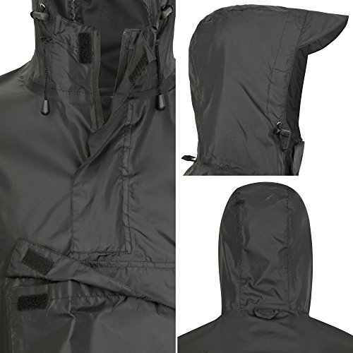 51d7%2Bc cs0L. SS500  - AWHA rain poncho black, unisex - the extra long rain cover with a zipper and chest pocket