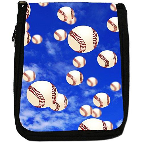 It's Raining-Borsa a tracolla in tela, colore: nero, taglia: M Nero (It's Raining Baseball Balls)