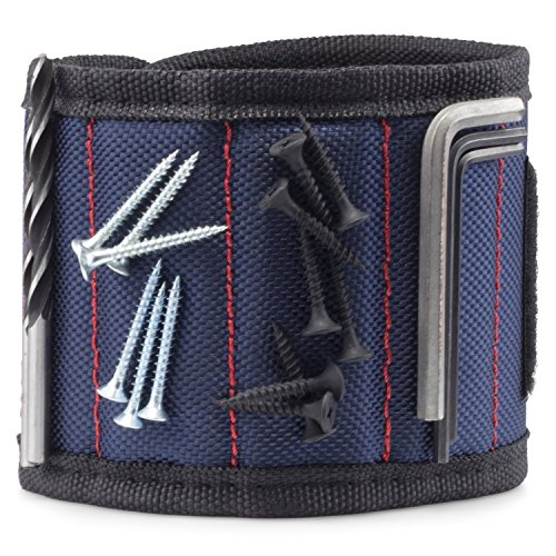 Magnetisches Armband, Audel Magnetarmband mit 5 leistungsstarken Magneten Magnet Armbänder für Holding Werkzeuge, Schrauben, Nägel, Schrauben, Dübel, Bohrungen etw. Farbe-Blau