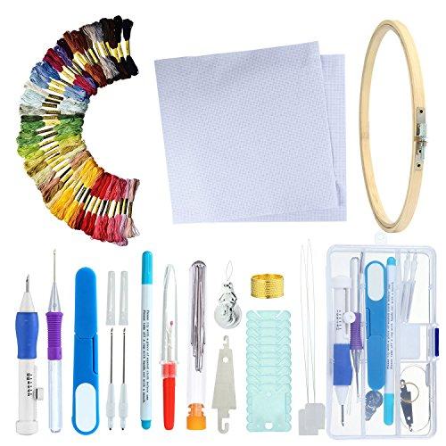 niceEshop Magic Stickerei Stift Kit, (TM) Sticken Pen Punch Nadel Set, Stickmuster Fäden Nähen Kit, 3 Kombinationen zu Wählen, DIY Stricken Nähen - Bild Toten Die